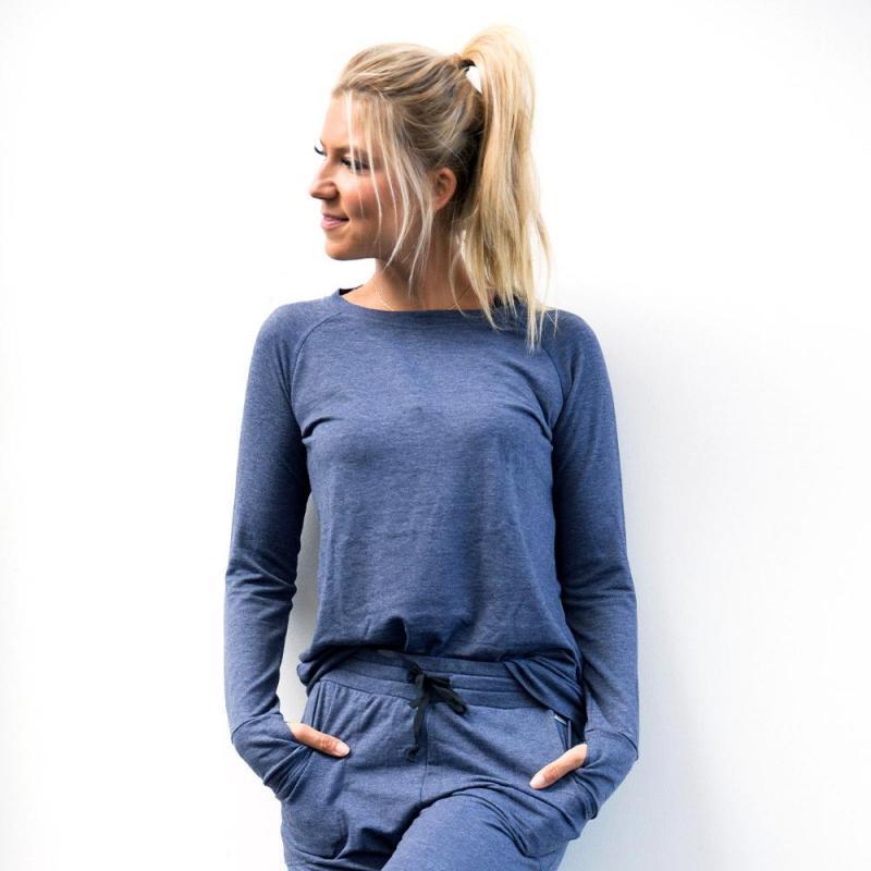 Hello Mello Weekender Raglan Sleeve Top - Navy Blue