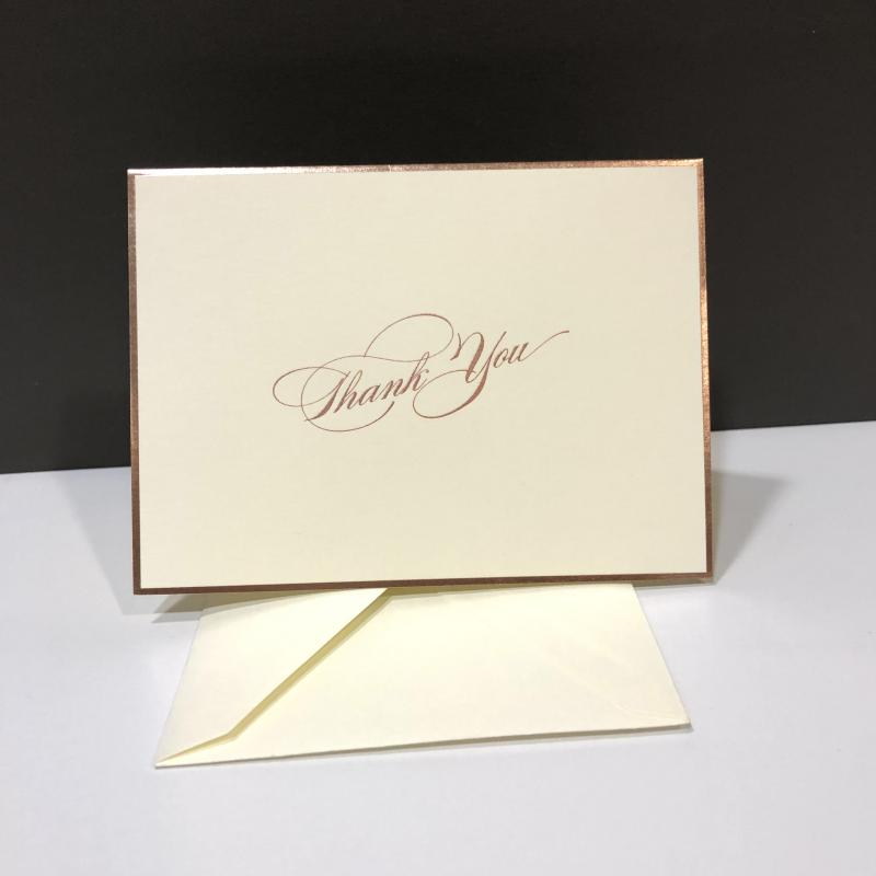 Thank You Folding Note Cards - Rose Gold Engraved