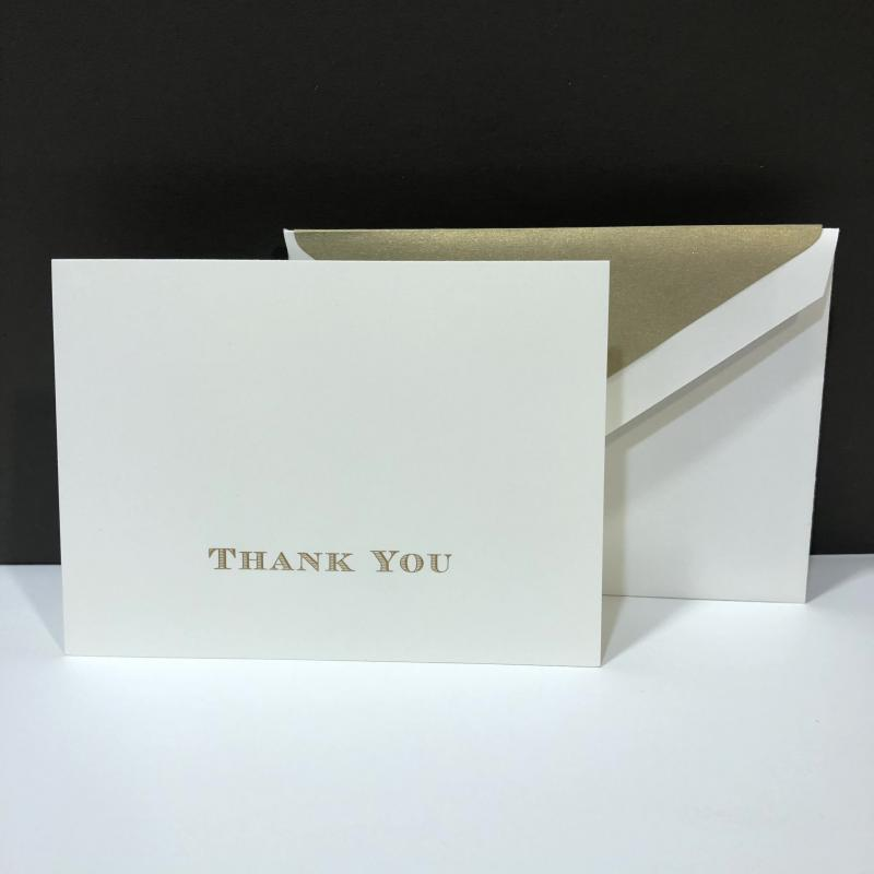 Crane Thank You Folding Note - Gold Hand Engraved