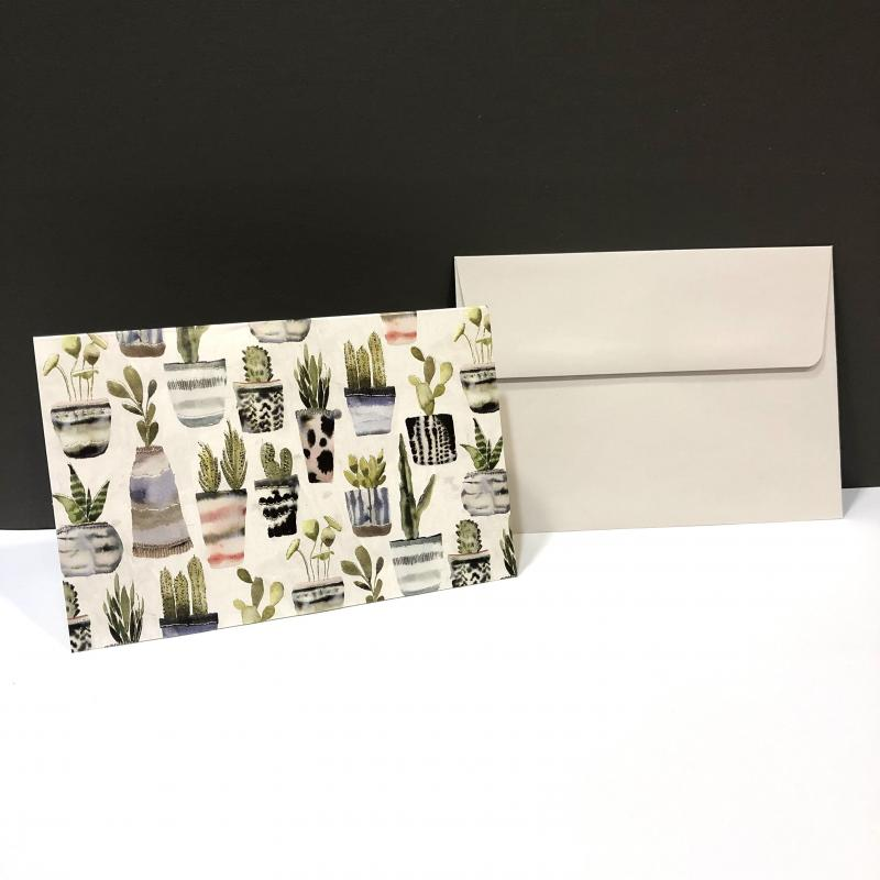 Blank Folding Note Cards - Watercolor Succulents (Pack of 14)