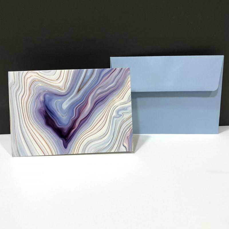 Blank Folding Note Cards - Blue Agate (Pack of 14)