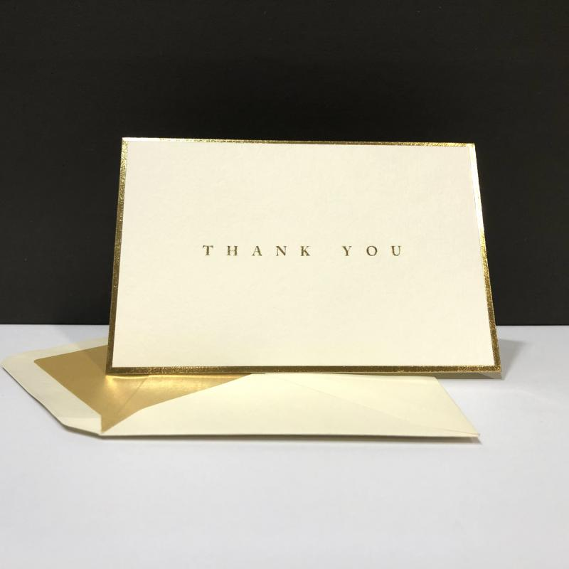 Thank You Folding Note Cards - Gold Foil