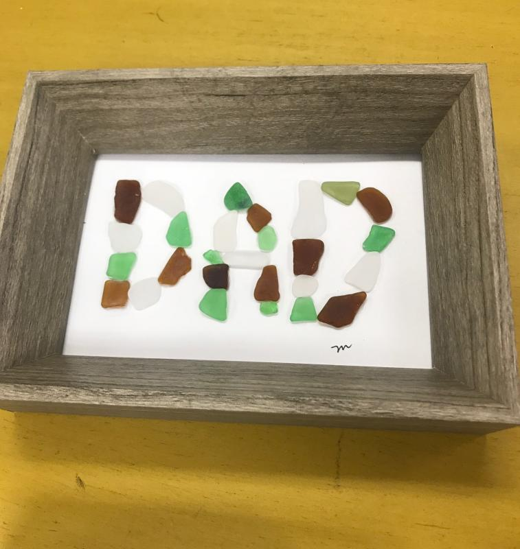 Framed Sea Glass Dad Sign