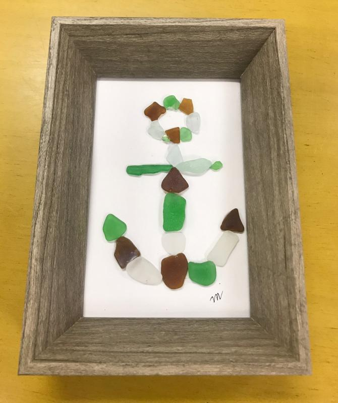 Sea Glass Framed Anchor