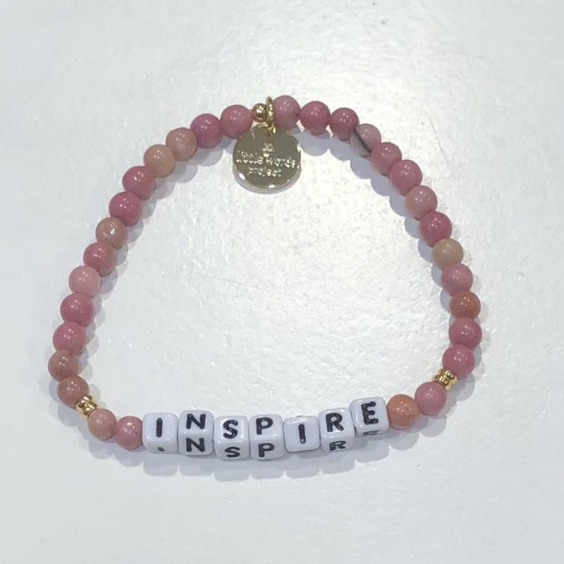 Little Words Project Bracelet - Inspire (Rhodonite/White)