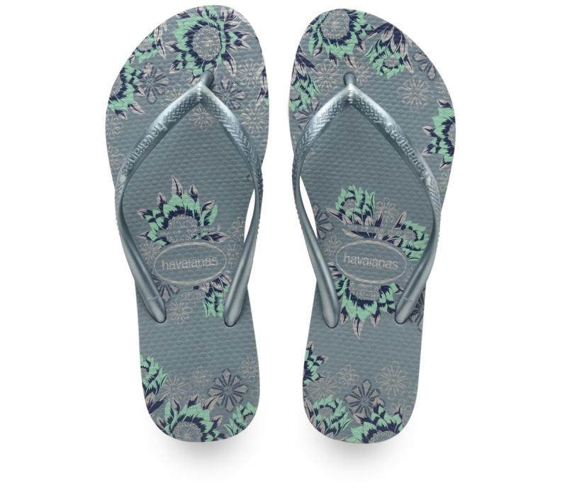 Havaianas Women's Grey Floral Slim Flip Flop