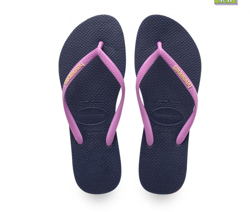 Havaianas Women's Navy/Pink Logo Slim Flip Flops
