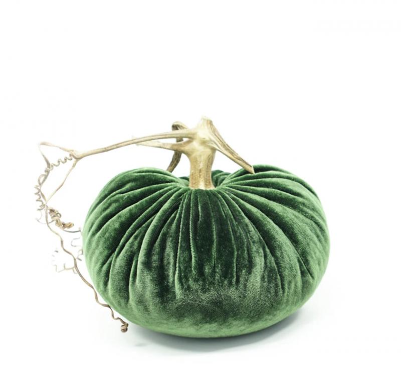 Velvet Plush Pumpkin - Emerald Green