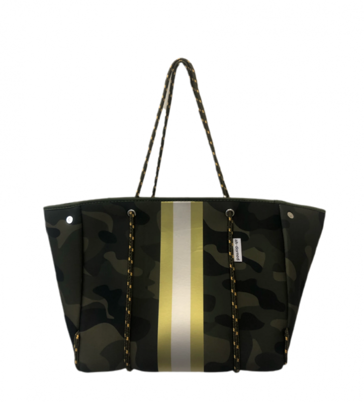 Ahdorned Neoprene Tote - Camo/Gold/White