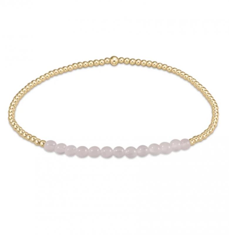enewton Gold Beaded Bracelet - 2mm Rose Quartz