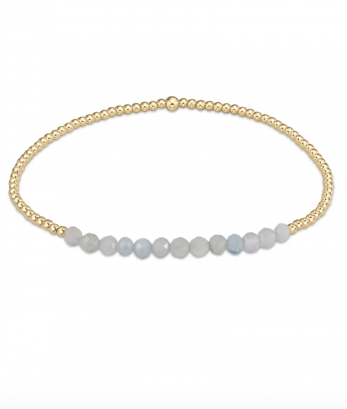 enewton Gold Beaded Bracelet - 2mm Aquamarine