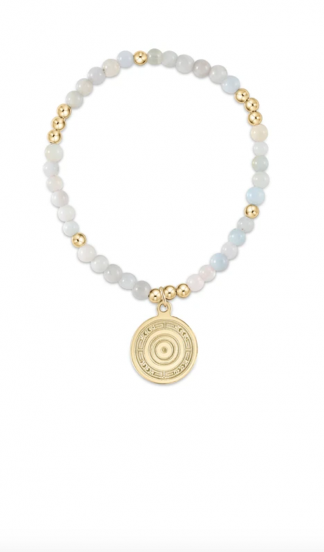 enewton Worthy Gold Beaded Bracelet with Charm - Aquamarine