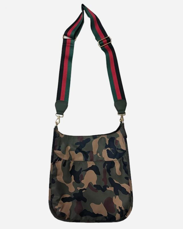 Army Camo Messenger Bag with Striped Strap