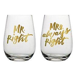 Mr. and Mrs. Right Wine Glass Set