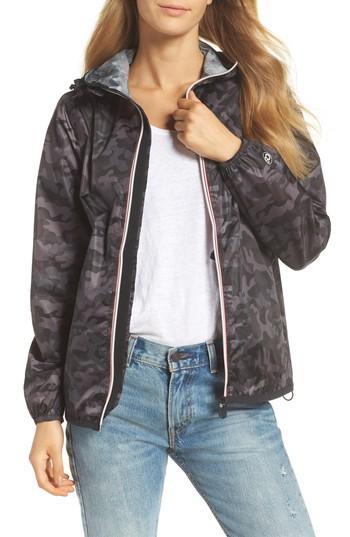 Sloane Printed Full-Zip Packable Rain Jacket