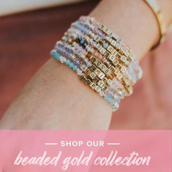 Little Words Project Bracelet - Be Happy (Gold/Aquamarine)