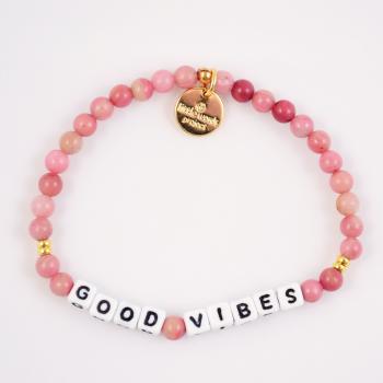 Little Words Project Bracelet - Good Vibes (White/Rhodonite)