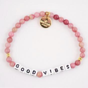 Little Words Project Bracelet - Good Vibes (Rhodonite)