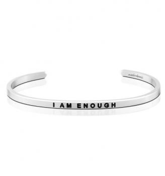 MantraBand Cuff Bracelet - I Am Enough (Silver)