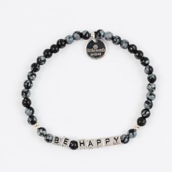 Little Words Project Bracelet - Be Happy (Silver/Stone Snowflake)