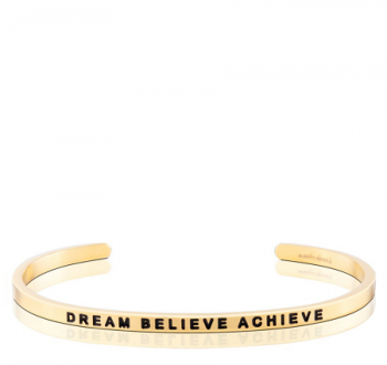 MantraBand Cuff Bracelet - Dream Believe Achieve (Gold)