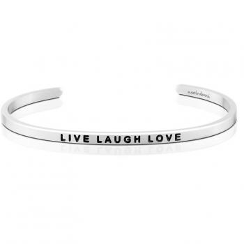 MantraBand Cuff Bracelet - Live Laugh Love (Silver)
