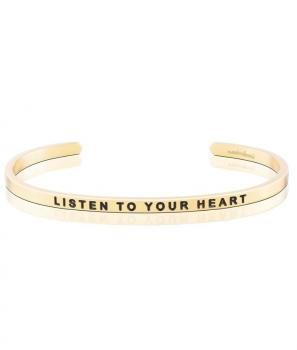 MantraBand Charity Cuff Bracelet - Listen To Your Heart (Gold)