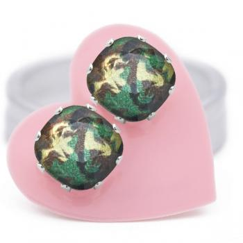 Jojo Loves You Swarovski Glamouflage Cushion Bling Earrings