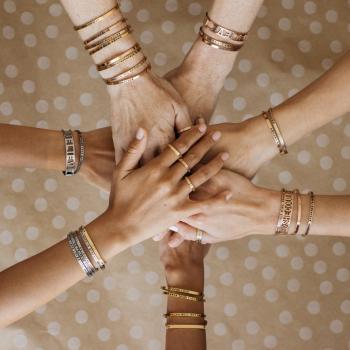MantraBand Cuff Bracelet - Lucky (Silver)