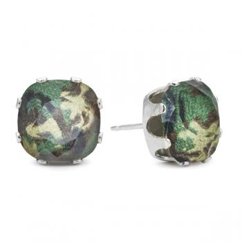 Jojo Loves You Swarovski Glamouflage Cushion Bling Earrings