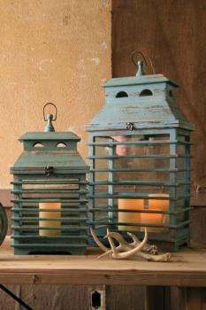 Vintage Blue Shutter Lanterns