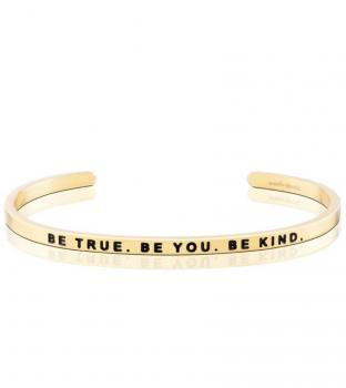 MantraBand Cuff Bracelet - Be True. Be You. Be Kind.  (Gold)