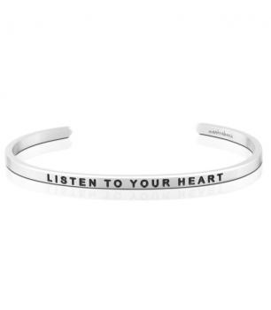 MantraBand Charity Cuff Bracelet - Listen To Your Heart (Silver)