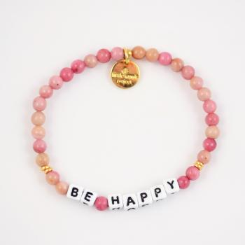 Little Words Project Bracelet - Be Happy (White/Rhodonite)