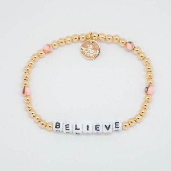 Little Words Project Bracelet - Believe (Gold/White Letters)