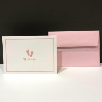 Thank You Folding Notes - Baby Steps Pink (14 ct)