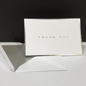 Thank You Folding Note Cards - Silver Foil