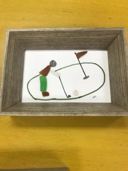 Sea Glass Framed Golf Scene