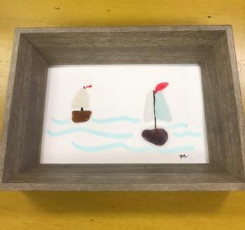Sea Glass Sailboat Framed Design