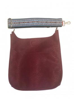 Red Faux Snakeskin Messenger with Embroidered Strap