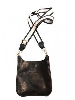 Mini Black Vegan Messenger with Striped Strap