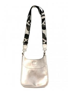 Silver Mini Vegan Messenger with Camo Strap