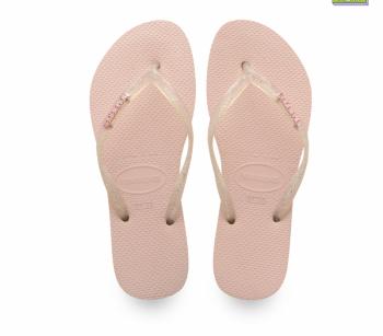 Havaianas Womens Slim Logo Metallic Sandal Ballet Rose
