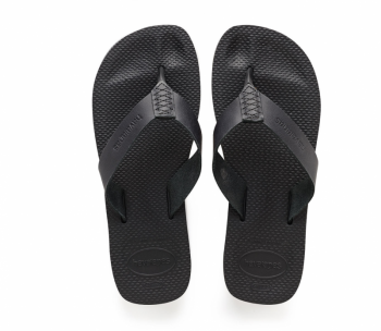 Havaiana's Men's Urban Special Black Leather Flip Flops