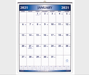 Payne Publishers Blue Metal Bound Wall Calendar - 16 x 21