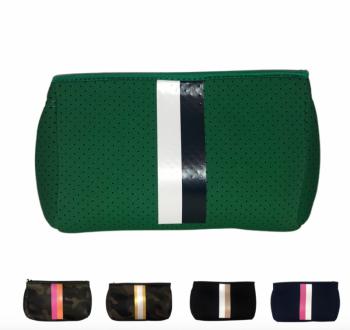 Ahdorned Neoprene Pouch - Green/Navy/White