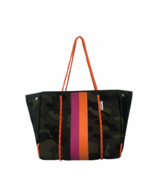Ahdorned Neoprene Tote - Camo/Orange/Pink