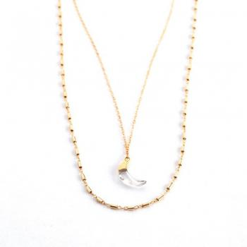 Solana Crystal Moon Necklace - Lavender Crush