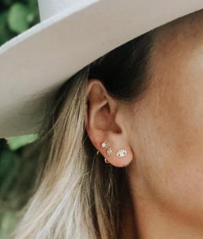 JaxKelly Earrings - Evil Eye Huggies