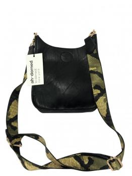Black Mini Vegan Messenger with Camo Strap